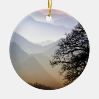 Smoky Mountain Sunset from the Blue Ridge Parkway Christmas Ornament
