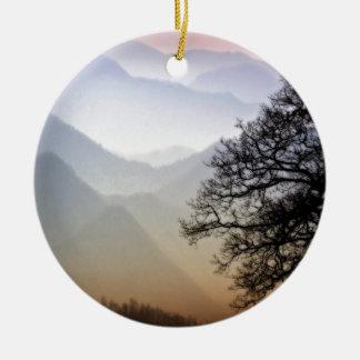 Smoky Mountain Sunset from the Blue Ridge Parkway Round Ceramic Decoration