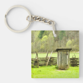 Smoky Mountains Outhouse Travel Photography Key Ring