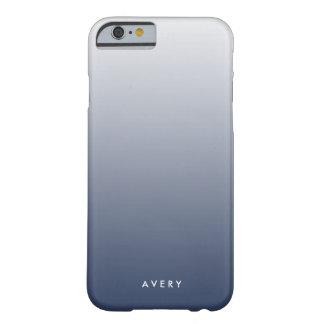 Smoky Navy & Gray Gradient Ombre Personalized Barely There iPhone 6 Case