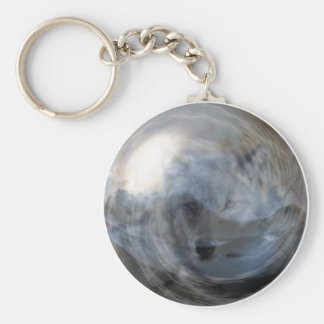 Smoky Wolf in Crystal Ball Basic Round Button Key Ring