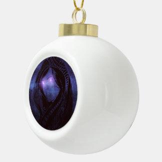 Smoldering gaze ceramic ball christmas ornament
