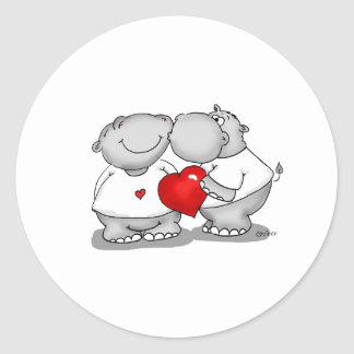 Smooch - Hippo Kiss Valentine's Day Classic Round Sticker