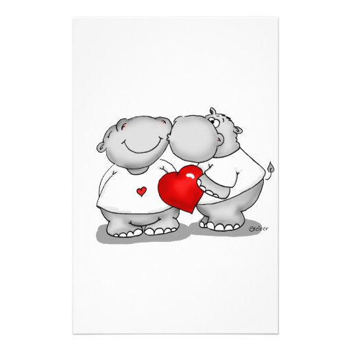 Smooch - Hippo Kiss Valentine's Day Stationery