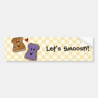 Smoosh, Peanut Butter Jelly Cartoon Bumper Sticker Car Bumper Sticker