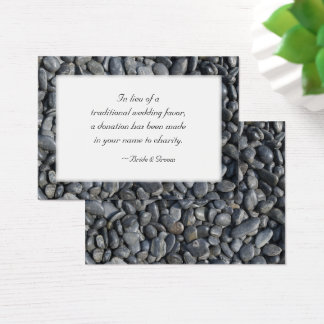 Smooth Black Pebbles Wedding Charity Favor Card