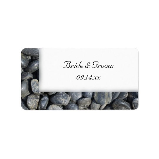 Smooth Black Pebbles Wedding Favour Tags Address Label