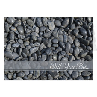 Smooth Black Pebbles Will You Be My Groomsman Greeting Card