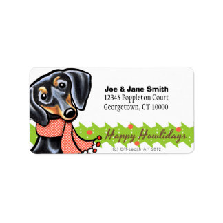 Smooth Black Tan Dachshund Christmas Address Label