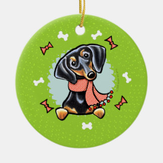 Smooth Black Tan Dachshund Christmas Wreath Christmas Ornament