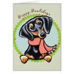 Smooth Black Tan Dachshund Happy Howlidays Greeting Card