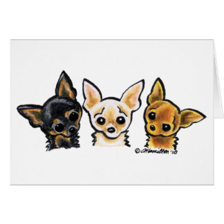 Smooth Chihuahua Trio Card