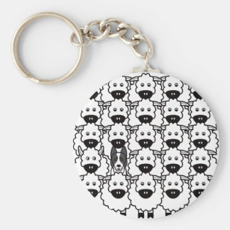 Smooth-Coated Border Collie in the Sheep Basic Round Button Key Ring