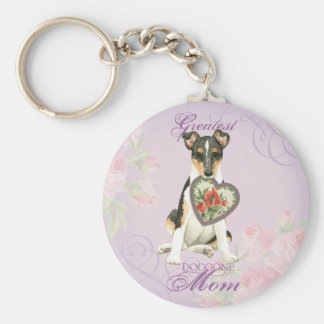 Smooth Collie Heart Mom Basic Round Button Key Ring