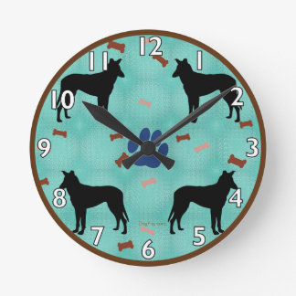 Smooth Collie Shadow Round Clock