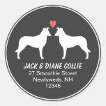 Smooth Collie Silhouettes Return Address Round Sticker