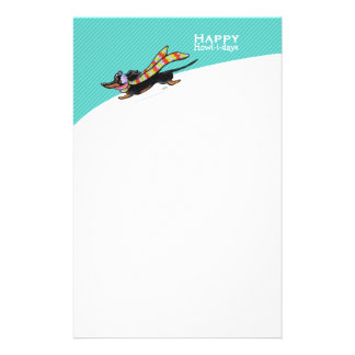 Smooth Dachshund Winter Christmas Mod Blue Personalized Stationery