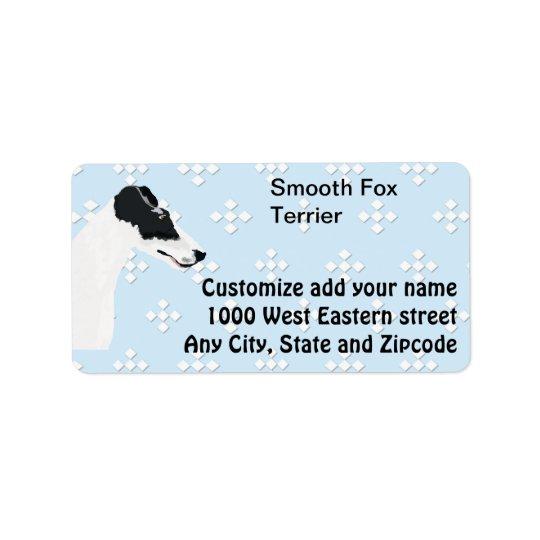 Smooth Fox Terrier - Blue w/White Diamond Design Address Label