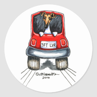 Smooth Fox Terrier Dog Cool Red Car Round Stickers