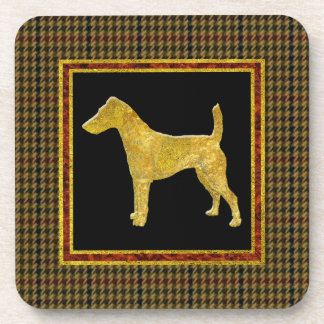 Smooth Fox Terrier Gold Tweed Pattern Drink Coasters