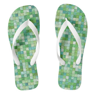 Smooth irregular green background flip flops