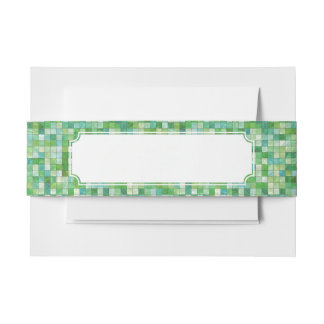 Smooth irregular green background invitation belly band