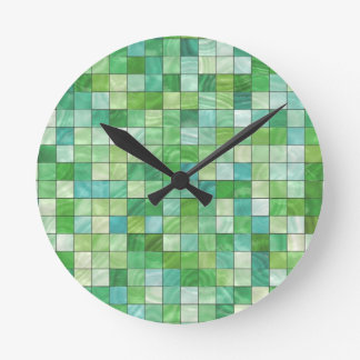 Smooth irregular green background round clock