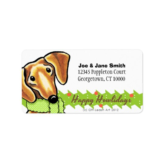 Smooth Red Dachshund Christmas Label