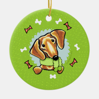 Smooth Red Dachshund Christmas Wreath Christmas Ornament