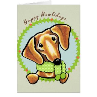 Smooth Red Dachshund Happy Howlidays Card