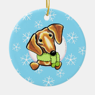 Smooth Red Dachshund Let it Snow Christmas Ornament