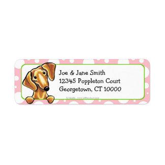 Smooth Red Dachshund Pink Polka Dots Return Address Label