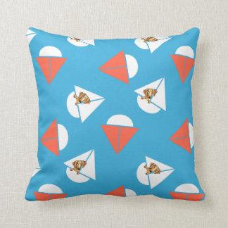 Smooth Red Dachshund Sailboats Blue Cushion