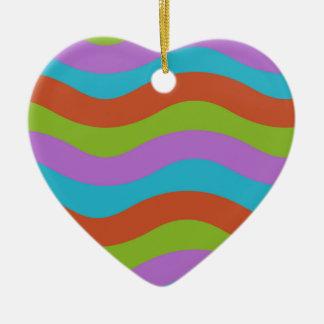 Smooth Waves Stripes Ceramic Heart Decoration