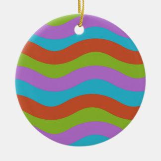 Smooth Waves Stripes Round Ceramic Decoration