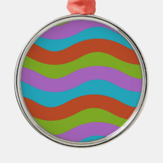 Smooth Waves Stripes Silver-Colored Round Decoration