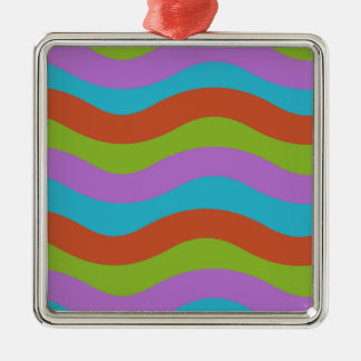 Smooth Waves Stripes Silver-Colored Square Decoration