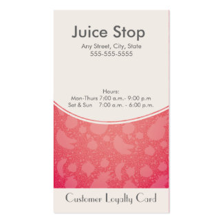 Smoothie Juice Bar Business Card Loyalty Card