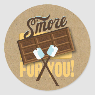 S'more for You Camp Fire Favor labels Bonfire Round Sticker
