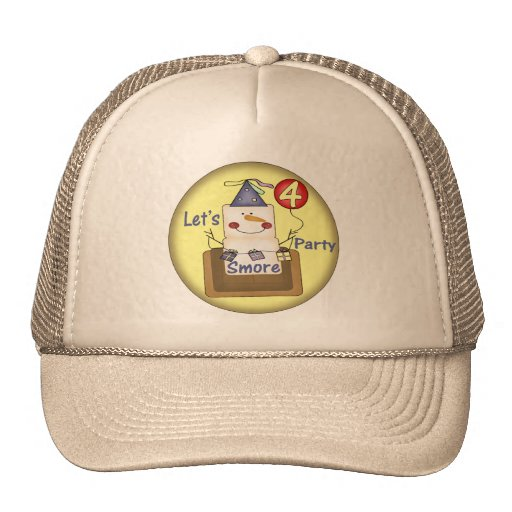 Smores 4th Birthday Gifts Mesh Hats