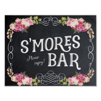 smores bar sign chalkboard floral poster