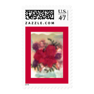 Smudged Flower Bouquet - Red Border Postage Stamps