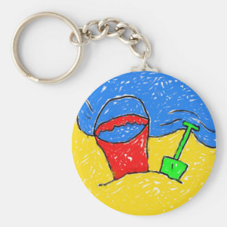 Smudgy Beach Basic Round Button Key Ring
