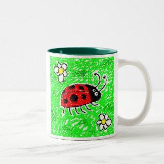 Smudgy Ladybug Two-Tone Coffee Mug