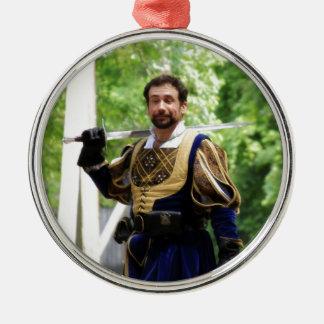 Smug Swords Man Silver-Colored Round Decoration