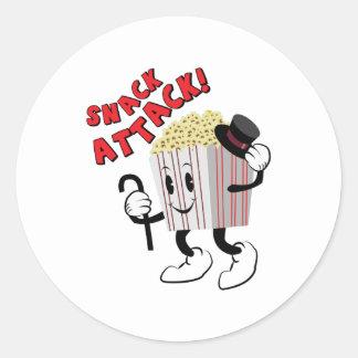 Snack Attack Round Sticker