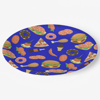Snack Time Blue Picnic Paper Plates 9 Inch Paper Plate
