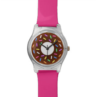 Snack Time Chocolate Sprinkles Pink Donut Watch