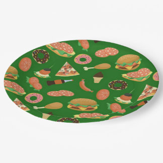Snack Time Green Picnic Paper Plates 9 Inch Paper Plate