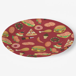 Snack Time Red Picnic Paper Plates 9 Inch Paper Plate